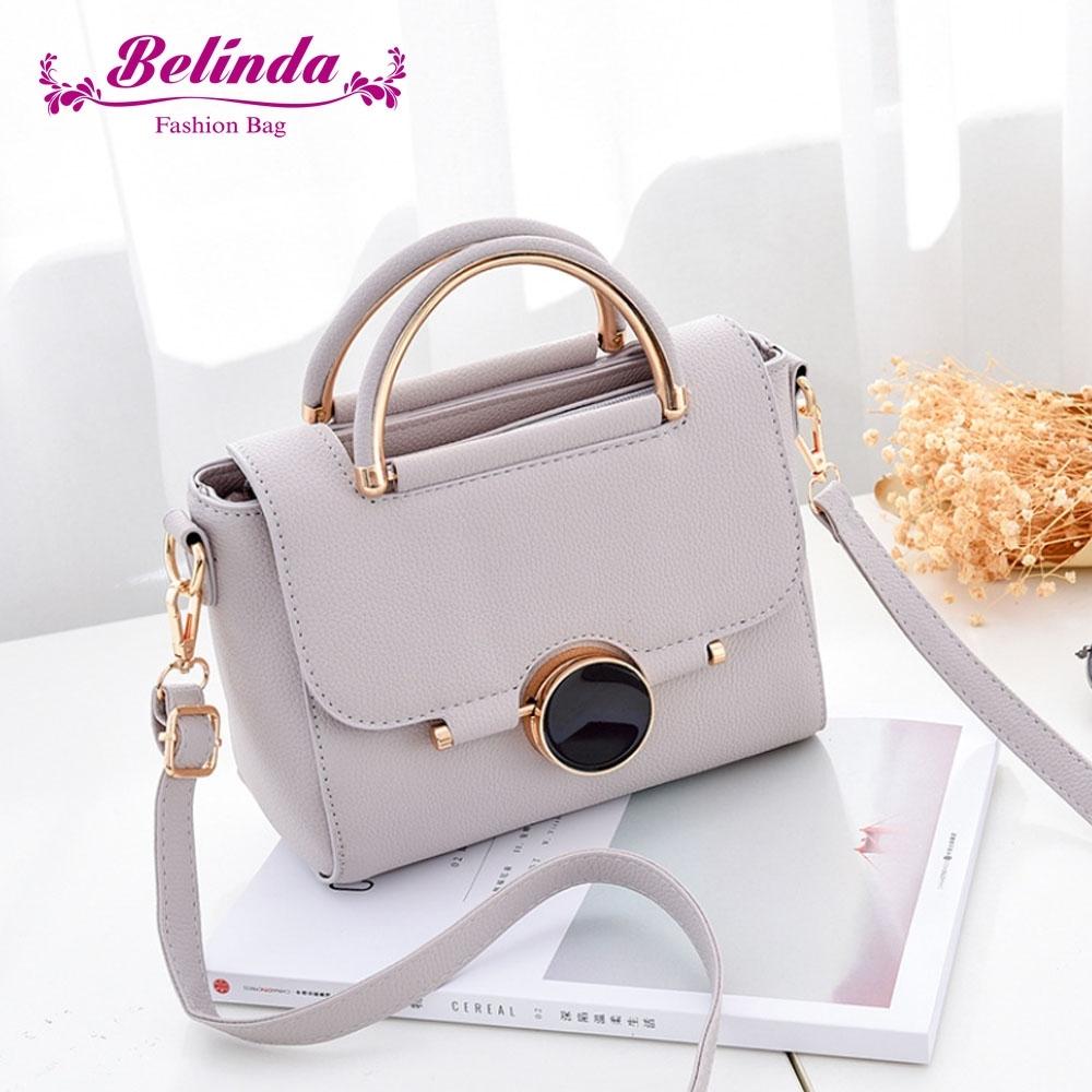 【Belinda】凱瑟琳圓形鎖扣甜美手提側背包(淺灰色)