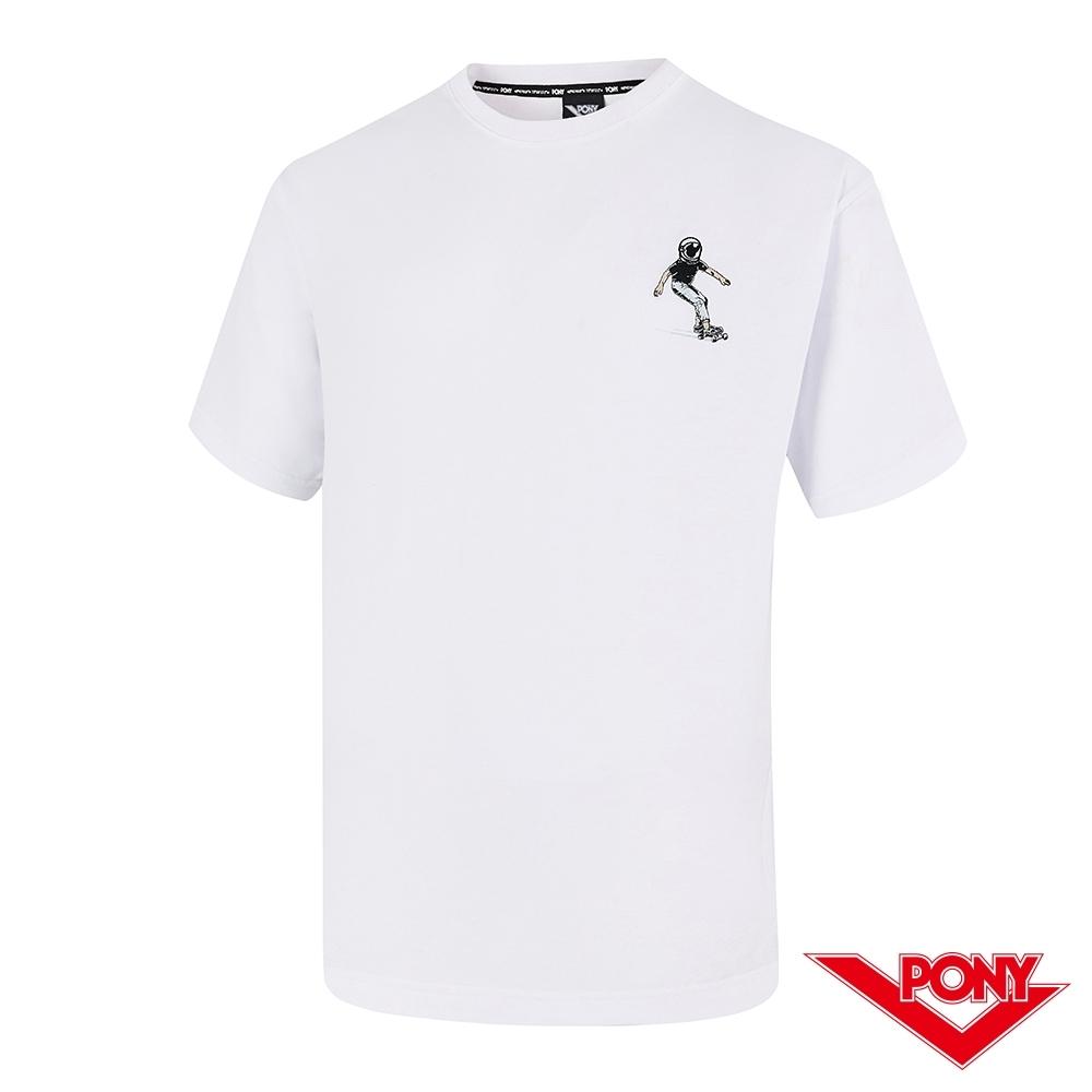 【PONY】滑板小人短袖T恤上衣 中性款-白