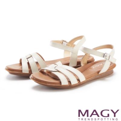 MAGY 編織造型真皮平底 女 涼鞋 米色