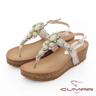 【CUMAR】情迷哈瓦那 -華麗大寶石波西米亞風格厚底台夾腳涼鞋-
