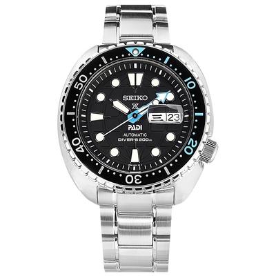 SEIKO 精工 PROSPEX PADI 聯名款 海龜 潛水錶 機械錶 不鏽鋼手錶-黑色/45mm