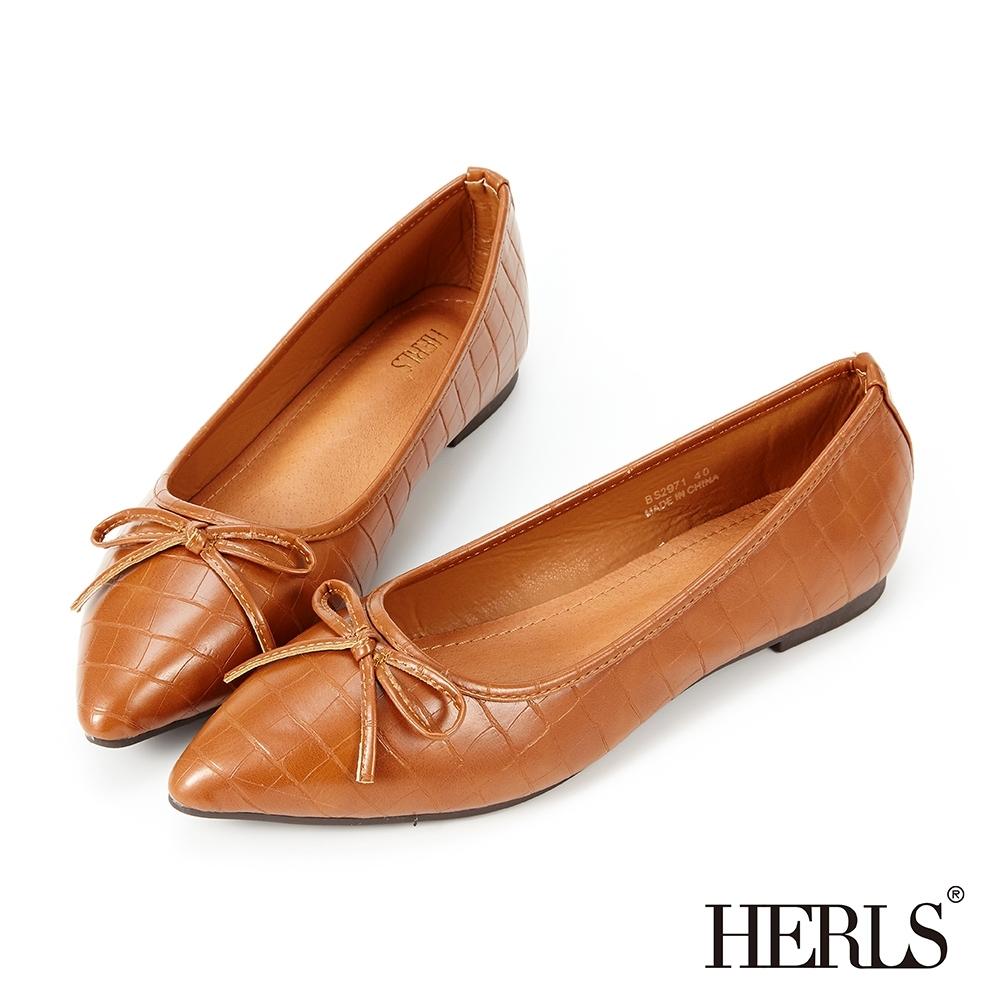 HERLS平底鞋-蝴蝶結石頭紋尖頭平底鞋-棕色
