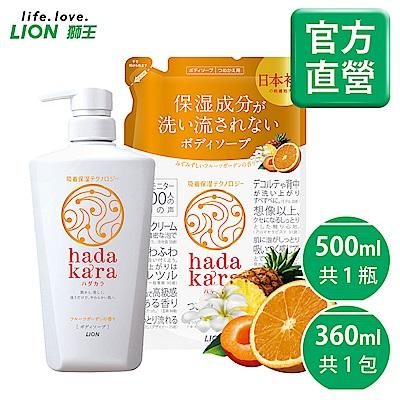 日本獅王LION 肌潤保濕沐浴乳 橙果花園 1+1組合