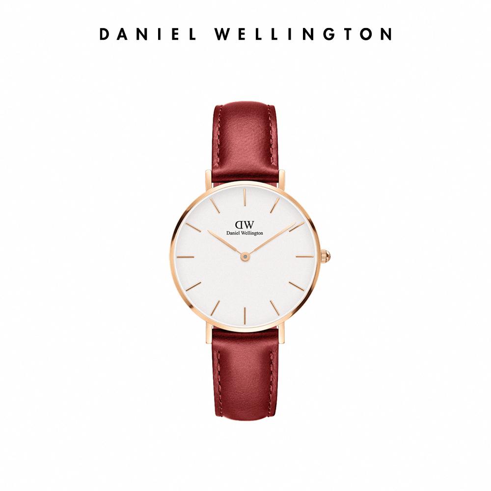 DW 手錶 官方旗艦店 32mm玫瑰金框 Suffolk 經典紅真皮壓紋皮革錶