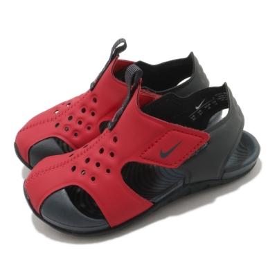 Nike 涼鞋 Sunray Protect 2 童鞋 經典款 輕便 魔鬼氈 夏日 小童 穿搭 紅 黑 943827603