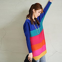 M@F摺衣 時尚拼色條紋長版壓摺衣-藍色