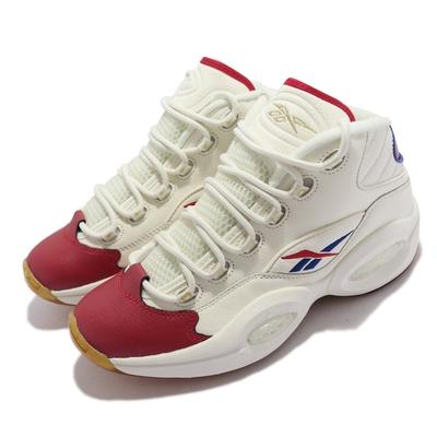 Reebok 籃球鞋 Question Mid 運動 男鞋 經典款 Iverson 艾佛森 避震 包覆 白紅 GZ7099