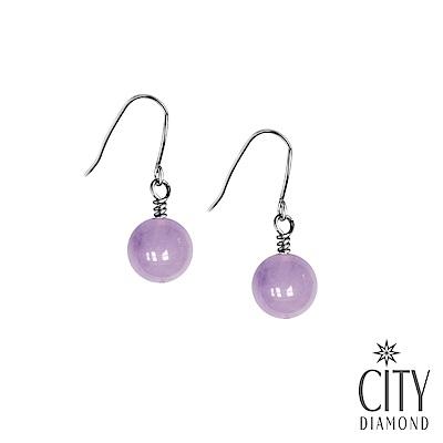 City Diamond引雅 【手作設計系列 】天然紫水晶單顆垂式耳環