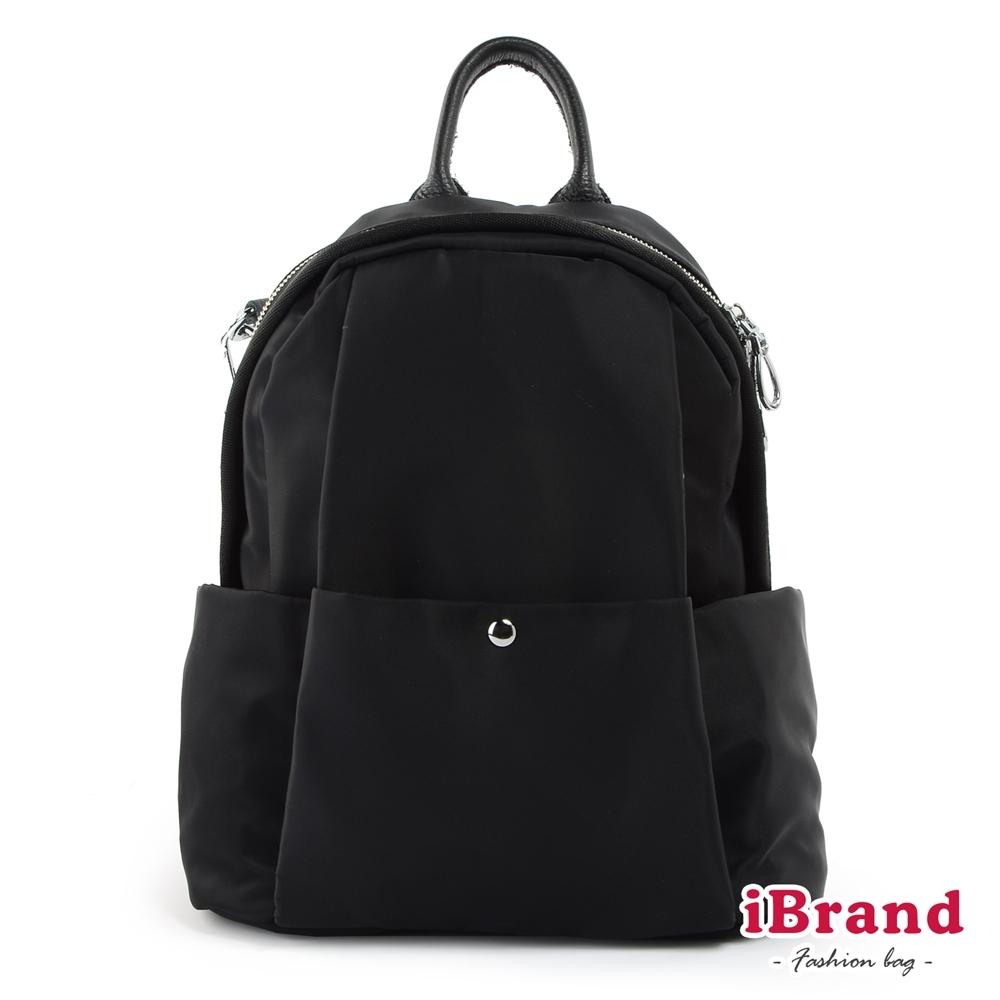 iBrand後背包 簡約真皮抓摺尼龍後背包-黑色