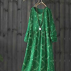 蕾絲刺繡網紗內襯中長版洋裝-設計所在