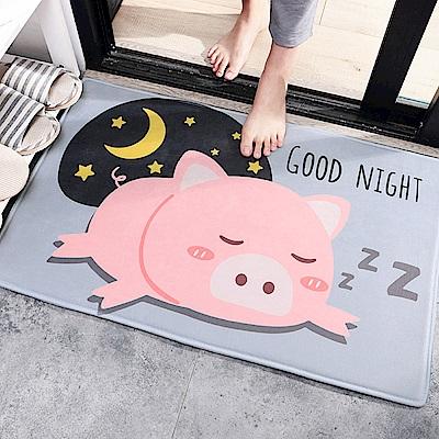半島良品 晚安豬豬法蘭絨防滑吸水地墊 50*80cm