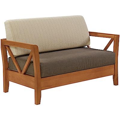 綠活居 尼西現代風亞麻布實木二人座沙發椅-131x76x90cm免組
