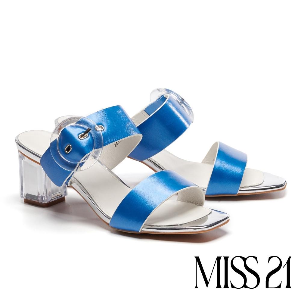 涼鞋 MISS 21 迷人海洋風大圓釦設計方頭粗跟涼鞋-寶藍
