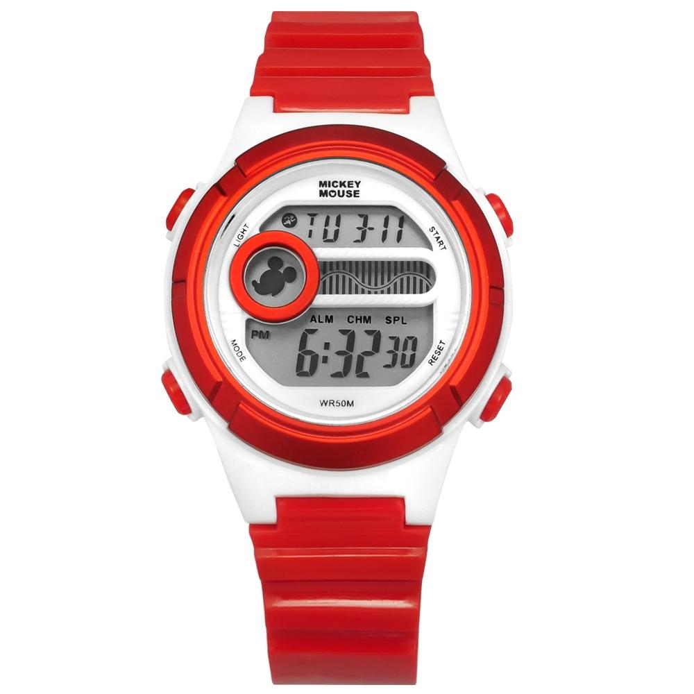 Disney 迪士尼 米奇系列 計時碼錶 鬧鈴 兒童錶 卡通錶 電子 橡膠手錶-紅色/35mm
