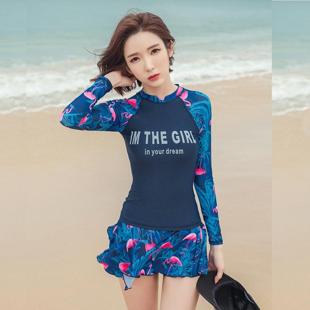 Biki比基尼妮泳衣,裕美二件式長袖泳衣有加大泳裝(藍M-2XL)