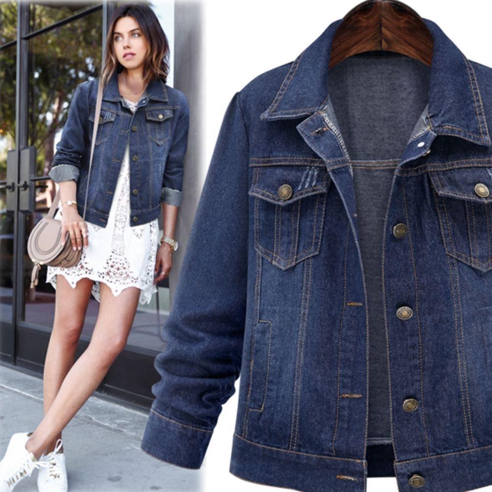 MOCO時尚百搭經典款減齡雙口袋銅釦牛仔外套XL~5XL