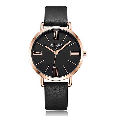 JULIUS聚利時 經典美學簡約時尚皮錶帶腕錶-黑X黑/34mm