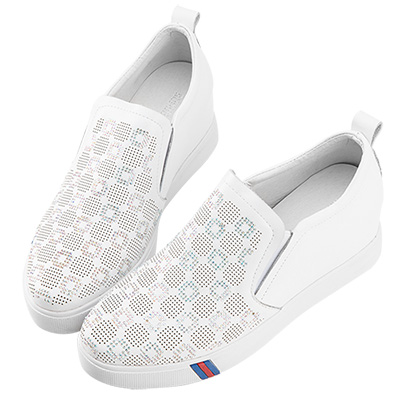 Robinlo & Co.質感造型水鑽牛皮內增高休閒鞋 白