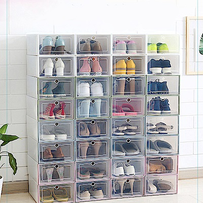 Desir加大加寬透明翻蓋鞋盒收納盒1組(同色3入/組)