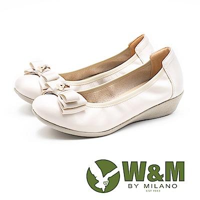 W&M (女)雙蝴蝶結真皮增高娃娃鞋-米(另有黑)