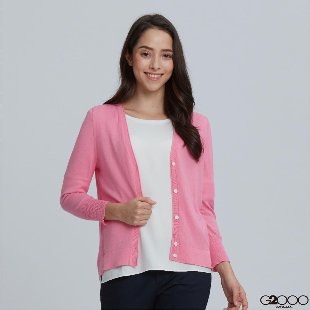 G2000素面七分袖針織外套-粉紅色