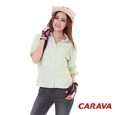 CARAVA《女款日本原紗排汗襯衫》(白底綠點)