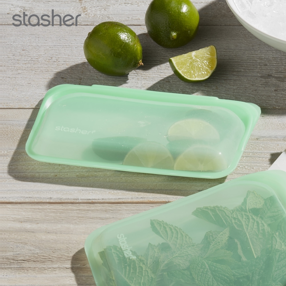 美國Stasher 長形白金矽膠密封袋-薄荷綠(快)