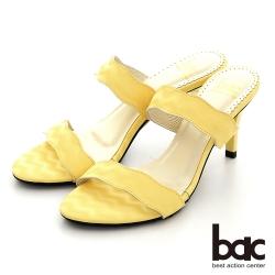 【bac】簡約波浪一字帶高跟拖涼鞋-黃