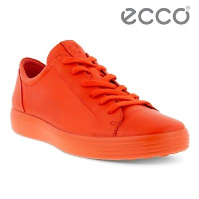 ECCO SOFT 7 M 純色皮革簡約輕巧休閒鞋 男鞋 火焰紅