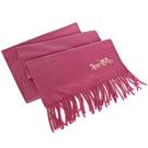COACH玫瑰粉素面馬車刺繡喀什米爾羊毛圍巾(183x30cm)