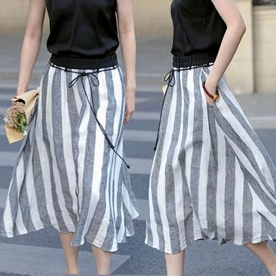 訂製21支色織細亞麻黑白條紋中長裙有襯-設計所在