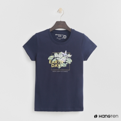 Hang Ten-女裝-有機棉-彩色圖印T恤-藍