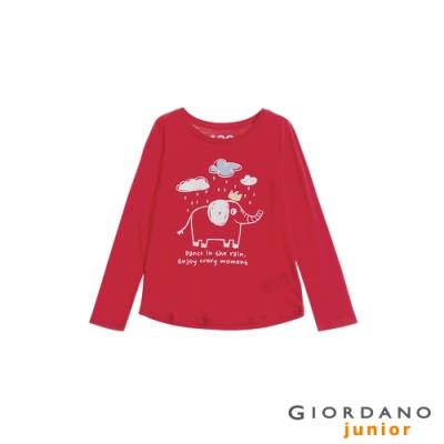 GIORDANO 童裝可愛手繪風印花長袖T恤-32 番茄紅