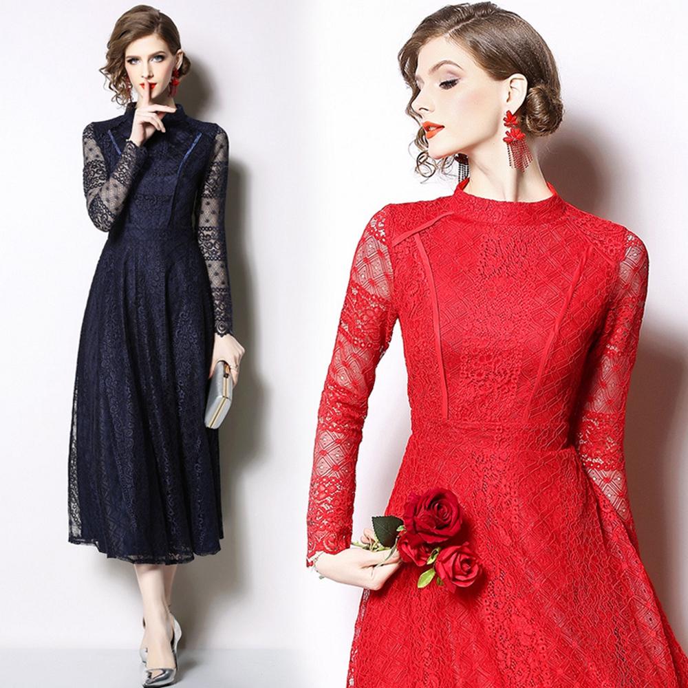 時尚優雅立領蕾絲長款洋裝S-2XL(共二色)M2M