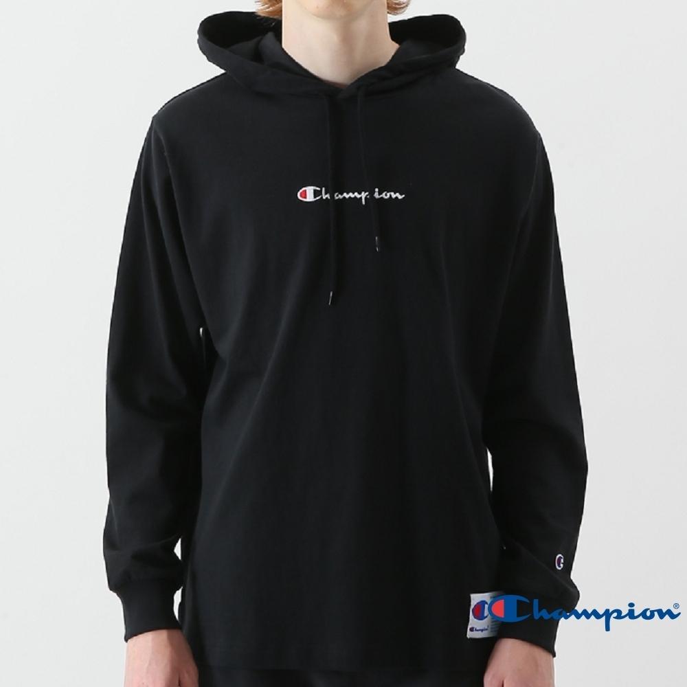 Champion AS Logo連帽長袖Tee 黑色
