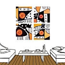 24mama掛畫-四聯式 黑橘藝術 複合印象 色彩抽象風無框畫 40X40cm-內心戲