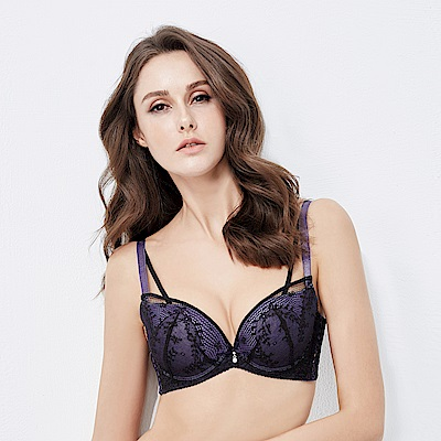 La Felino- 優雅卡洛琳3/4深V無縫泡棉B-E罩杯內衣 (紫夜藍)