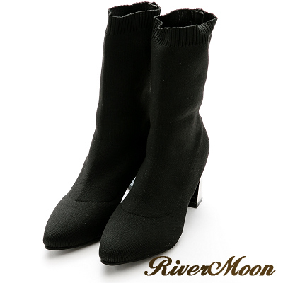 River&Moon襪靴-簡約美感~針織襪套金屬跟中靴