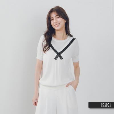 【KiKi】學院風造型-針織衫(藍色)