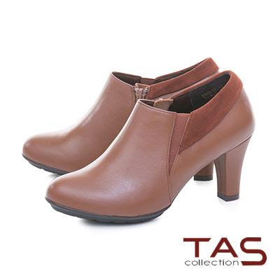 TAS 側拉鍊麂皮翻領拼接素面高跟踝靴–焦糖棕