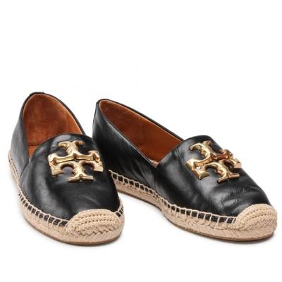 TORY BURCH Eleanor系列 品牌金屬LOGO 麻料草編平底鞋(經典黑)