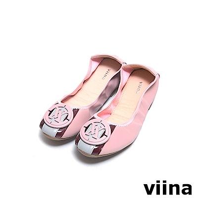 viina 條紋LOGO摺疊鞋MIT - 粉紅