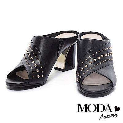 拖鞋 MODA Luxury 摩登優雅鉚釘造型牛皮魚口粗跟拖鞋-黑