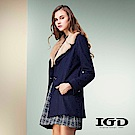 IGD英格麗 都會毛海翻領羊毛外套長版大衣-黑色