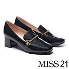 高跟鞋 MISS 21 復古時尚金鍊全真皮樂福方頭粗高跟鞋-黑
