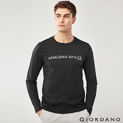 GIORDANO 男裝圓領英文標語長袖印花T恤-02 標誌黑