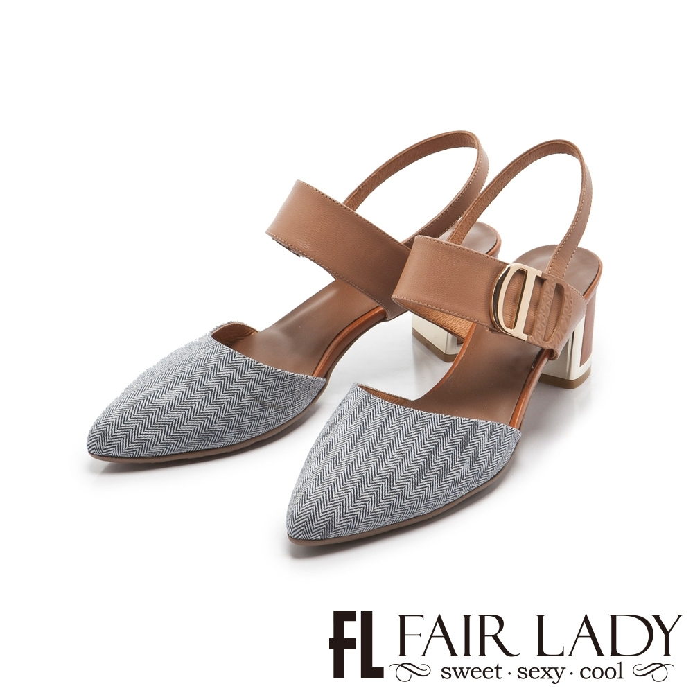 FAIR LADY 優雅小姐Miss Elegant 雙D釦帶撞色尖頭粗跟涼鞋 藍布紋