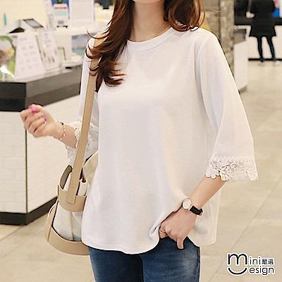 袖口蕾絲拼接壓紋七分袖上衣 白色-mini嚴選