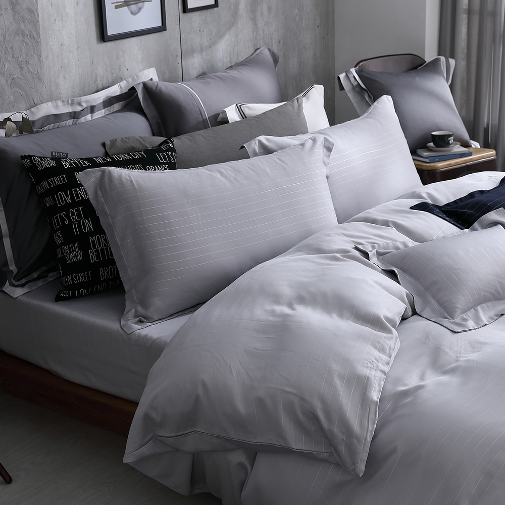 OLIVIA  Mars 銀灰 標準雙人床包歐式枕套組 300織銀纖維天絲萊賽爾 台灣製