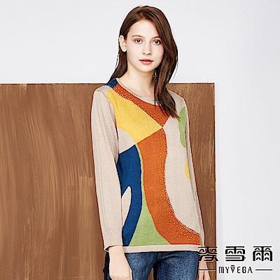 【麥雪爾】亮采幾何藝術緹花針織上衣-駝色